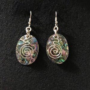 Silver Abalone Boho Twist Dangle Drop Earrings